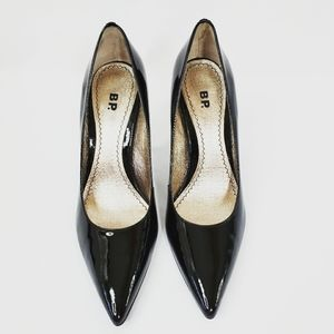 BP Black Patent Leather Pointed Toe Heels